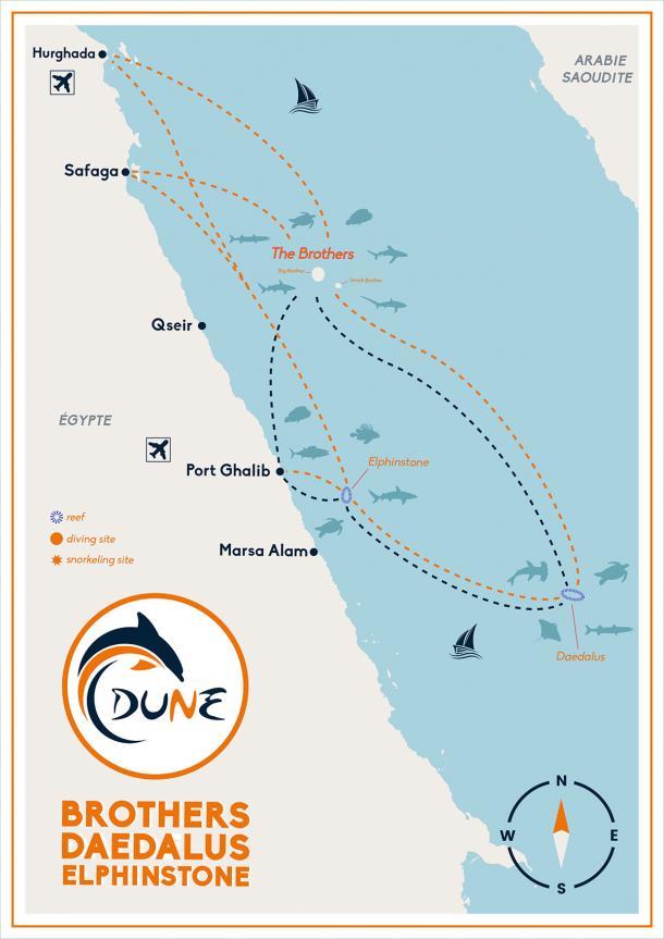 Itinéraire croisière plongée BDE (Brothers Daedalus Elphinstone) en Egypte - Mer Rouge