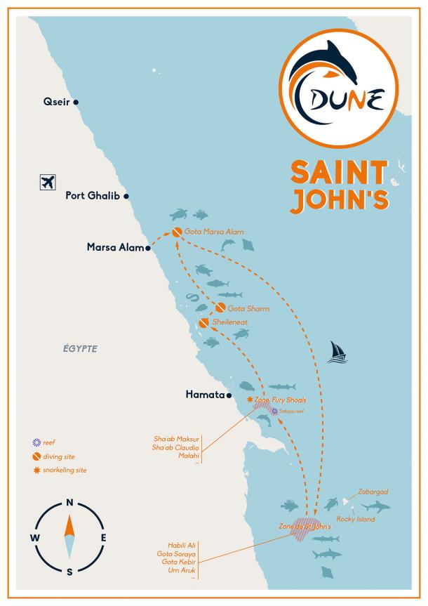 Itinéraire croisière plongée Saint John's en Egypte - Mer Rouge