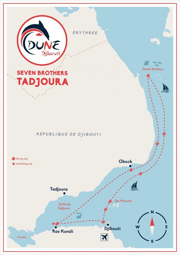 """Itinéraire croisière plongée """"les merveilles"""" à Djibouti - Mer Rouge"""