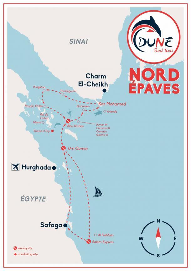 Itinéraire croisière plongée Nord Ras Mohamed en Egypte - Mer Rouge