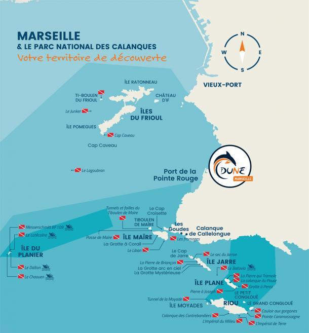 Terrain de jeux du centre de plongée Dune Marseille