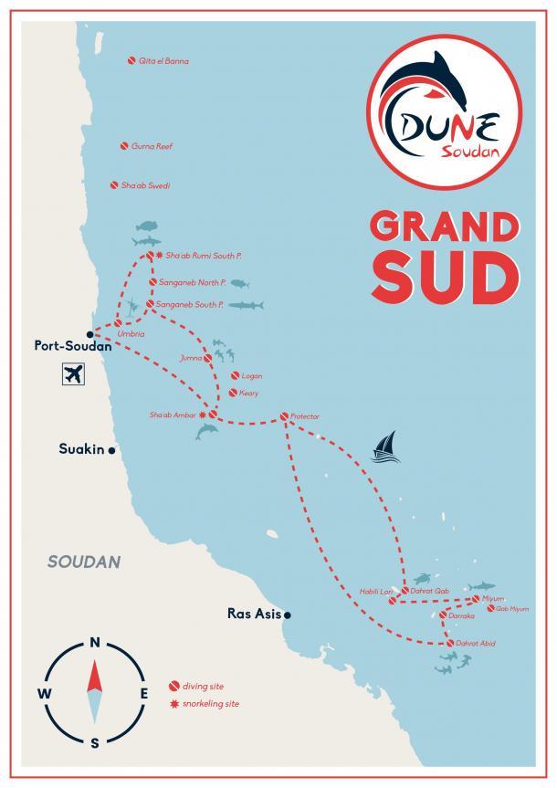 Itinéraire croisière plongée au Soudan avec Dune et la fondation Shark Education